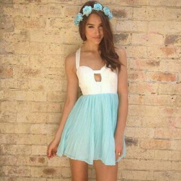 dress blue dress hair accessory flower crown cute dress