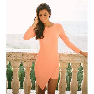 dress bodycon peach coral asymmetrical asymmetrical dress asymmetrical bodycon coral bodycon coral dress peach bodycon peach dress