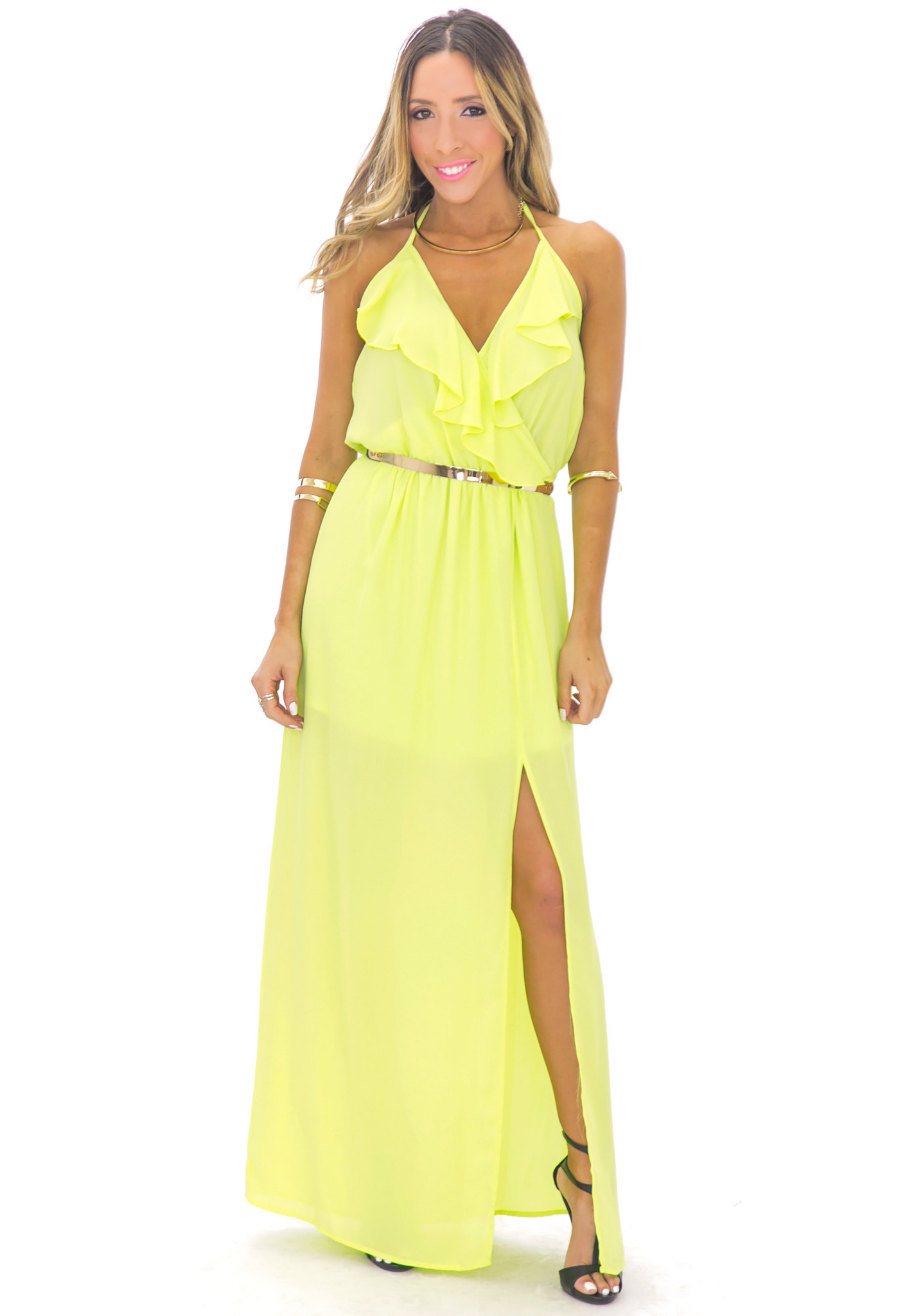 GISELLE RUFFLE MAXI DRESS - LIME GREEN | Haute & Rebellious