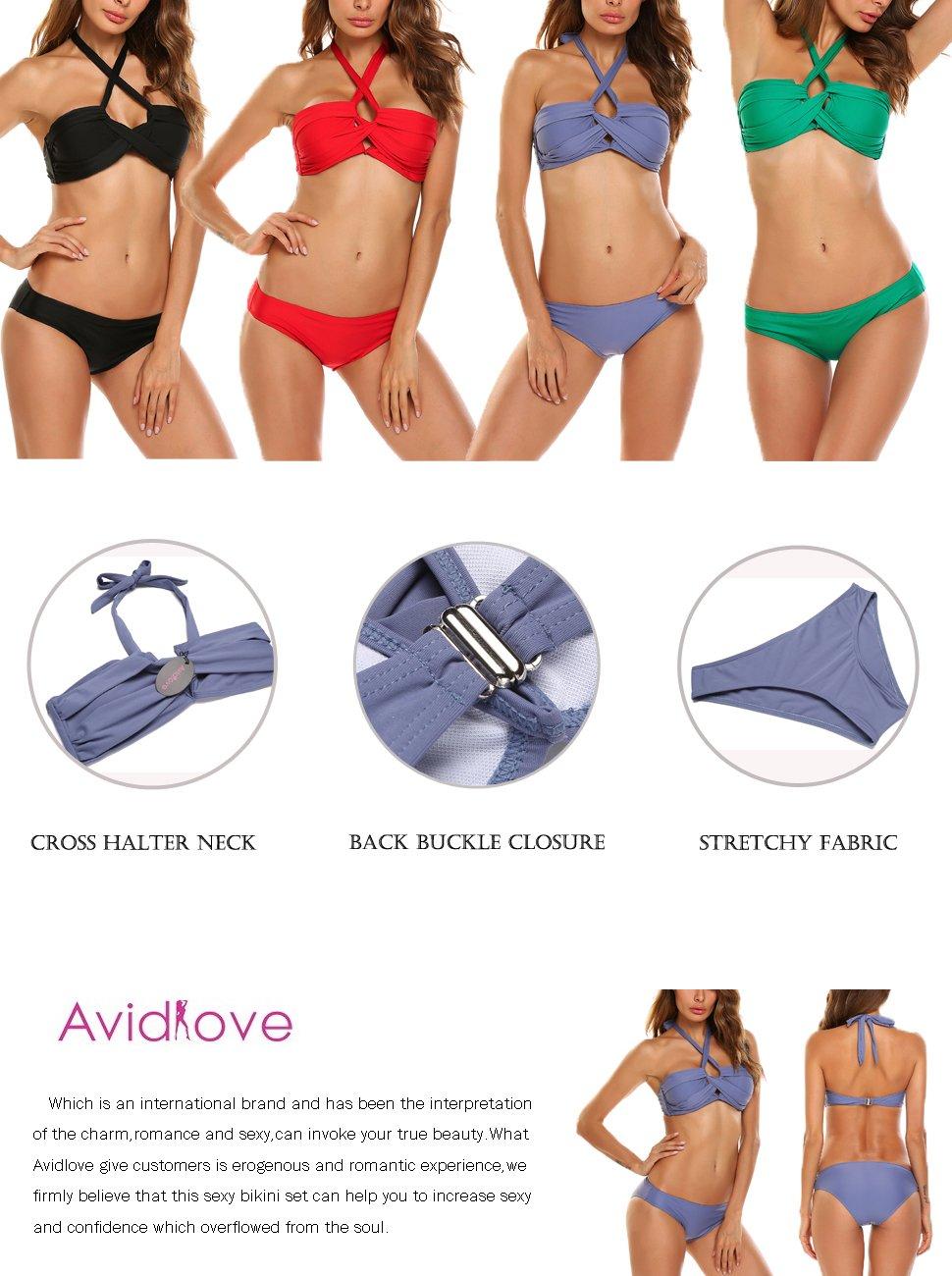 Amazon.com: Avidlove Push Up Two Pieces Bikini Swimsuit Criss Cross Swimwear Bandage Bathing Suits: Clothing