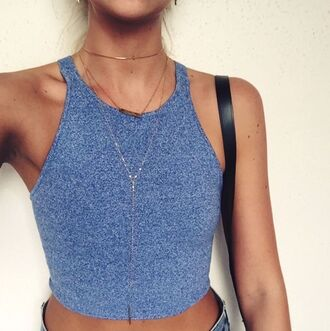 tank top crop tops crop tops high waisted shorts long necklace tank top crop top crop tank top crop tank blue tank top blue tanktop blue crop top blue top blue summer summer shirt summer tank top summer top