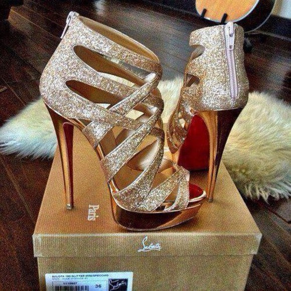 shoes high heels cute high heels gold sparkles christian louboutin sparkles, gold, high heels, cute