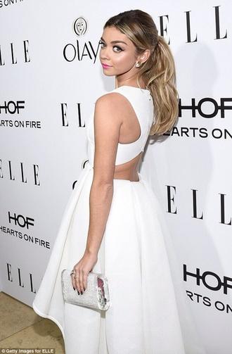 sarah hyland white dress backless dress