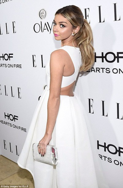 sarah hyland white dress backless dress