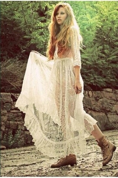 dress white dress crochet hippie boho bohemian white trainers indie
