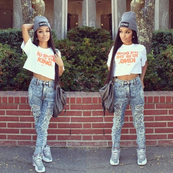 shirt king nike crop tops jeans hat shoes
