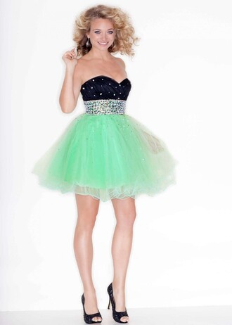dress cute juniors school dance mint black silver strapless puffy kids fashion