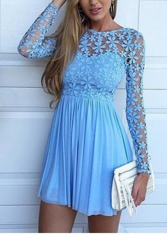 dress crochet blue girly floral feminine short dress long sleeves flowers