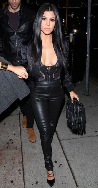 leggings pants faux leather kourtney kardashian pumps underwear bodysuit lace top all black everything shoes