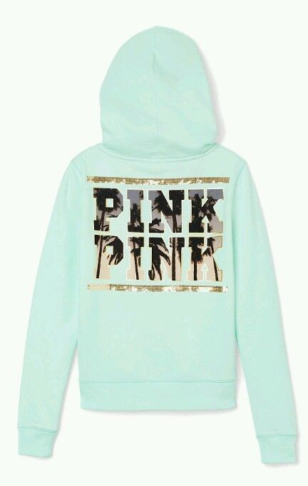 Victorias secret pink bling perfect zip hoodie jacket size large mint palm tree