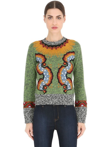 sweater embroidered wool green