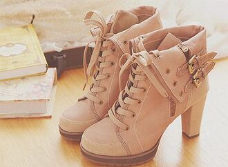 shoes heels boots booties tan beige high heels laceup foldover buckle lace up boots pink pink shoes cute high heels soft pink booties shoes buckled strap fold over buckled fold over boots fold over boots ankle boots khaki brown booties cute shoes brown winter outfits
