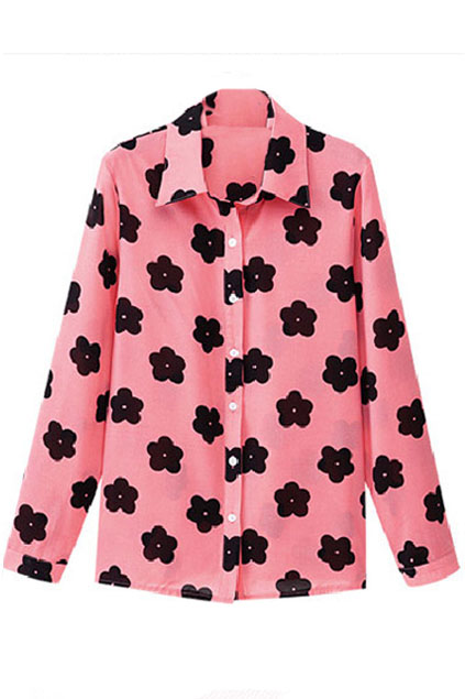 ROMWE | Black Floral Print Pink Shirt, The Latest Street Fashion