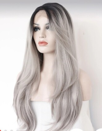 hair accessory grey lace front wig silver black roots