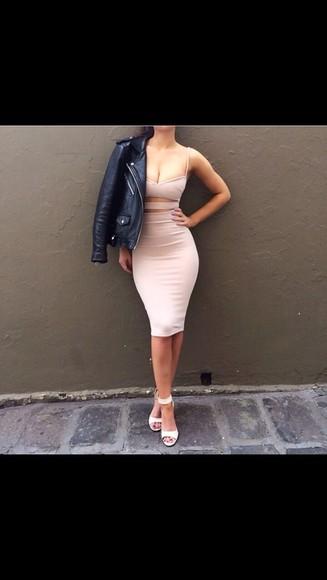 rose nude beige dess cut-out dress nude dress knee length dress