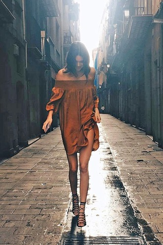 le fashion image blogger dress shoes off the shoulder brown dress long sleeve dress mini dress lace up heels mustard dress off the shoulder dress long sleeves short dress summer dress summer outfits sandals sandal heels high heel sandals black sandals lace up sandals puffed sleeves bardot dress