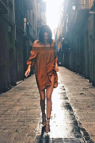 le fashion image blogger dress shoes off the shoulder brown dress long sleeve dress mini dress lace up heels