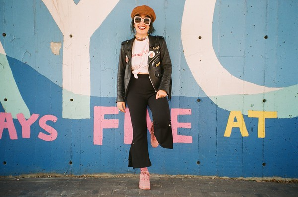 let's get flashy blogger top pants jacket shoes hat