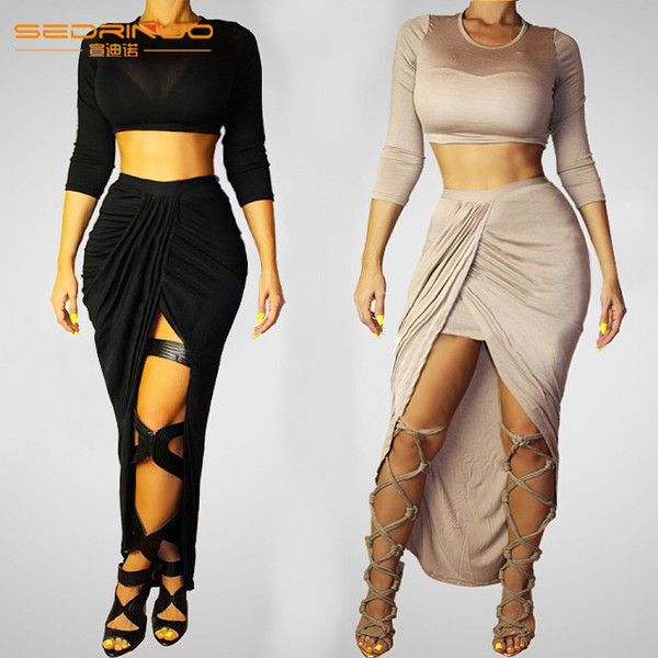 long-seelve bandage dress spring dress two-piece