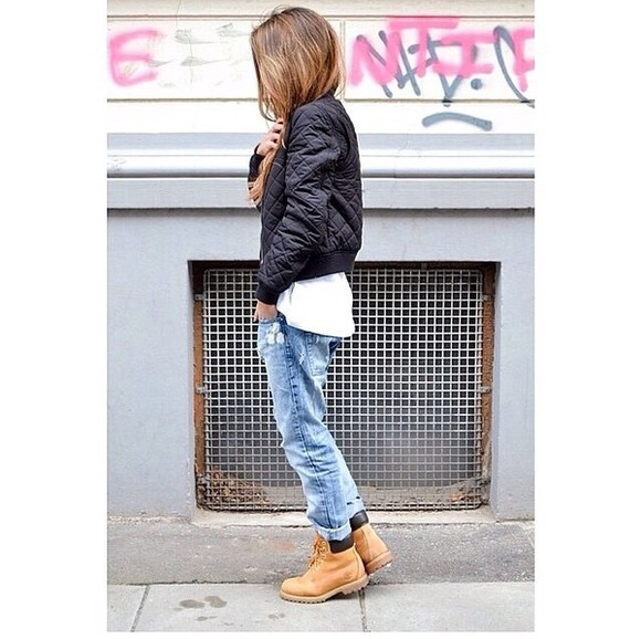 jacket black jacket army jacket timberlands jeans boyfriend jeans white t-shirt