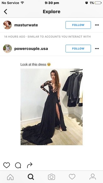 dress black lace prom formal lace arms sexy black dress slit dress slit skirt black skirt