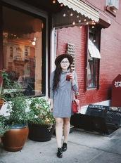 noelles favorite things,blogger,dress,bag,shoes,hat,gingham,red bag,shoulder bag,oxfords