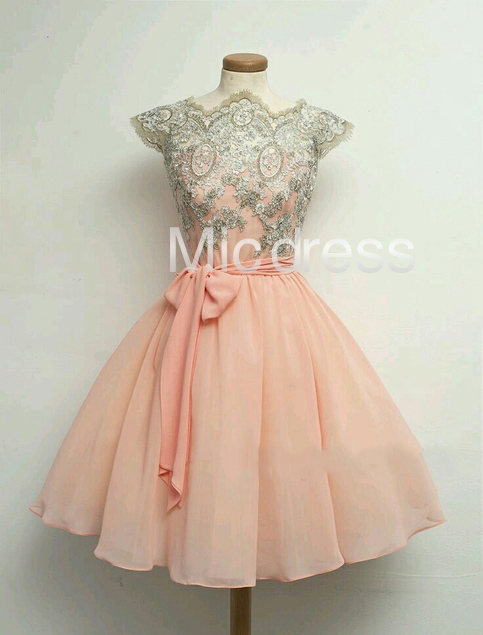 b08a4c3b1963 Cute Peach Lace Applique Short Chiffon Homecoming Dresses Short Prom Dresses  Wedding Bridesmaid Dress Party Gowns on Storenvy
