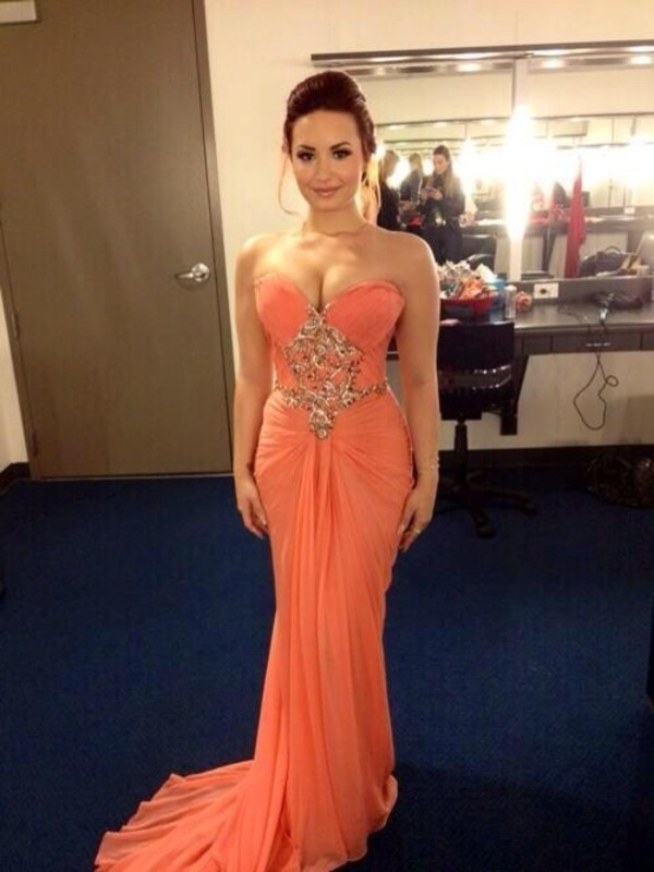 dress prom dress long prom dress demi lovato peach dress salmon long prom dress elegant gold details