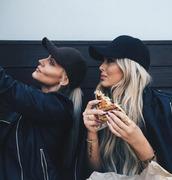 hat,black hat,black cap,contouring,long hair,black jacket,face makeup,black bomber jacket,all black everything