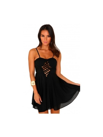 dress blaxk black dress strapp strappy straps short floaty skater dress