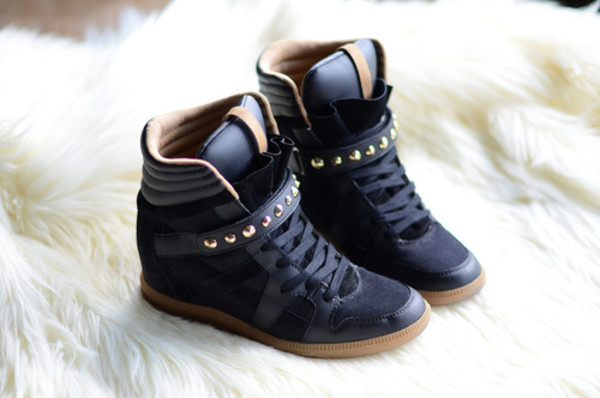 shoes high top sneakers studs black