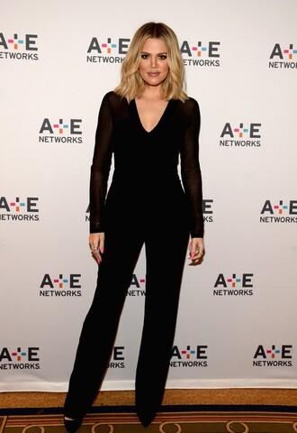 jumpsuit black khloe kardashian plunge v neck all black everything pants top