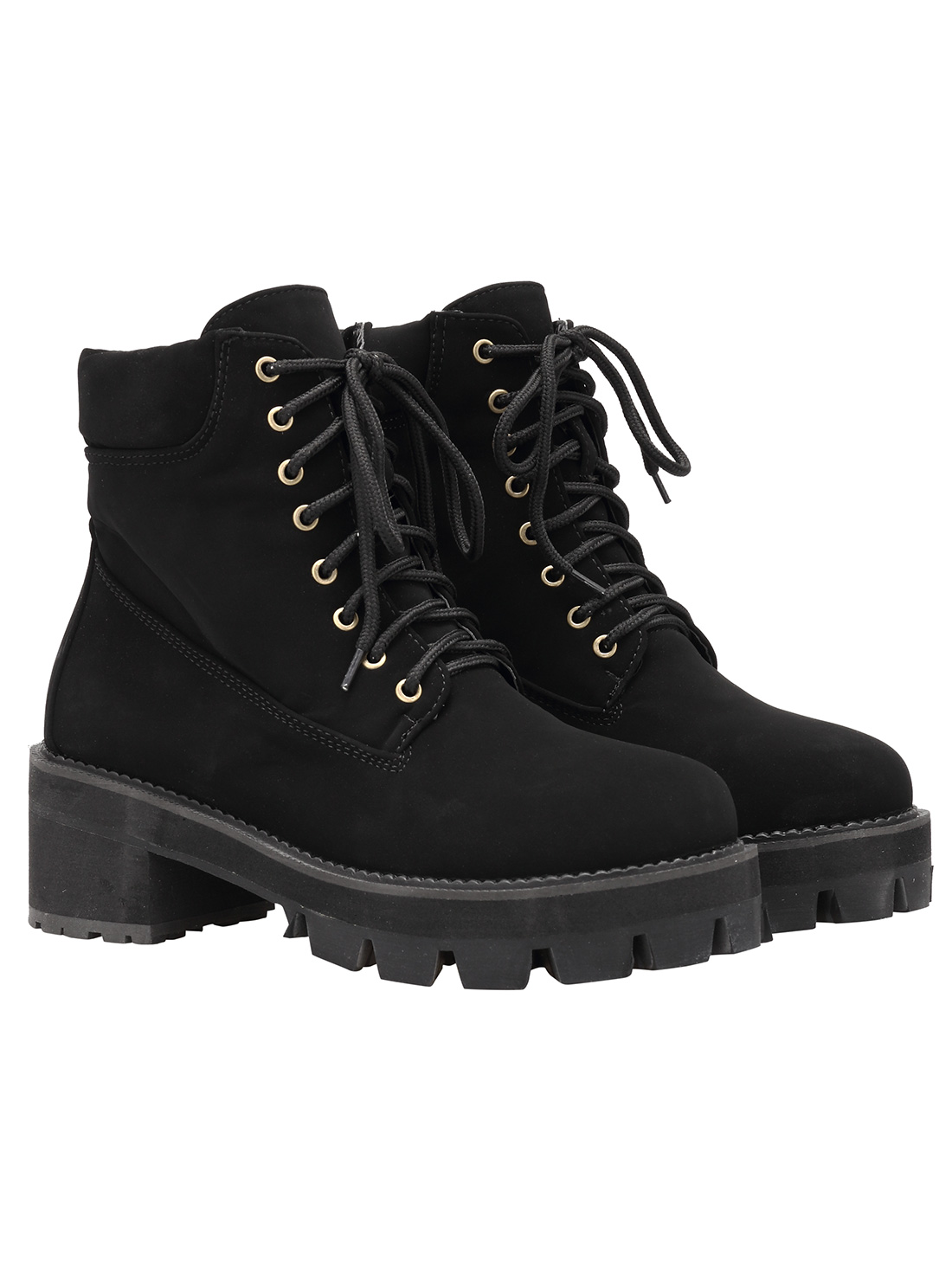 598bd9d0701b0 Black Round Toe Lace Up Boots -SheIn(Sheinside)