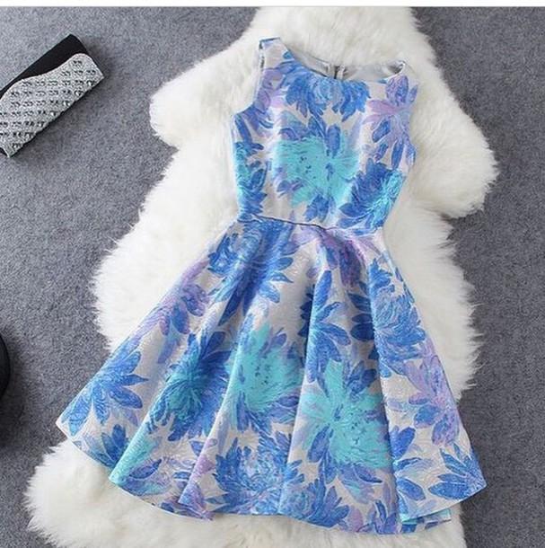 dress white blue skater skater dress floral zip up