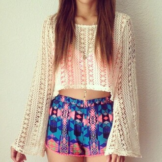 blouse hippie hippie chic hippie shirt aztec aztec short baggy shirt cute tumblr tumblr outfit tumblr clothes crochet crop tops sinched waist shorts