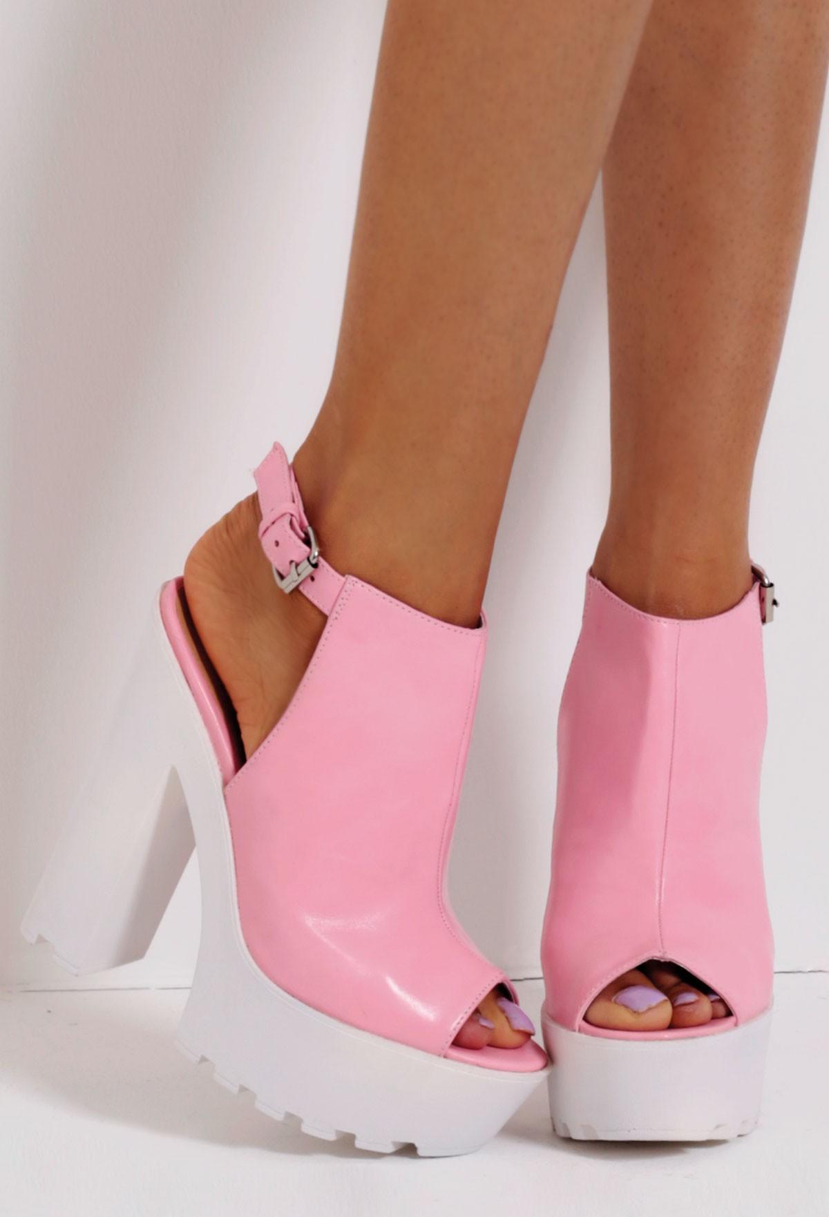 Pink Slingback Tractor Sole Platform Shoes | Pink Boutique