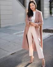 coat,wool coat,long coat,pumps,high heel pumps,pants,high waisted pants,white blouse