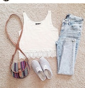 jeans,top,girly,denim,bag,shoes,lace,white,t-shirt,shirt,white lace tank top,tank top,summer top,summer pants,summer outfits,pants,crop tops,floraly,blouse,hat,white crop tops,fashion,cute,purse,light washed denim,white top
