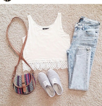 jeans top girly denim bag shoes lace white t-shirt shirt white lace tank top tank top summer top summer pants summer outfits pants crop tops floraly blouse hat white crop tops fashion cute purse light washed denim white top