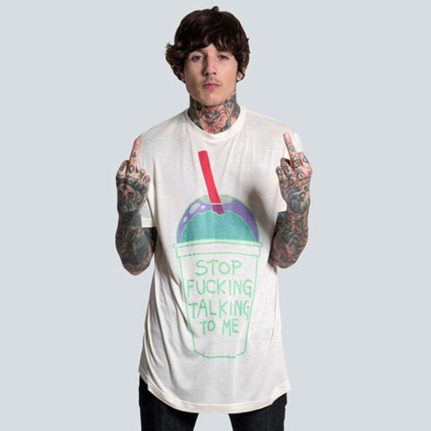 T Shirt Bmth Rude Oliver Sykes Bring Me The Horizon Tattoo Mens T Shirt Menswear Grunge