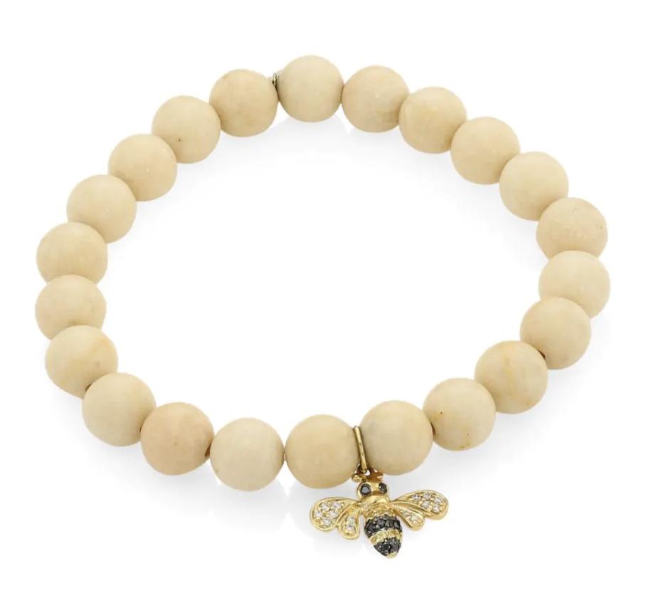 Sydney Evan 14K Yellow Gold, Two-Tone Diamond, Sapphire & White Coral Bee Charm Beaded Bracelet