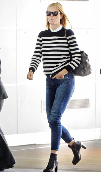 sweater stripes gwyneth paltrow jeans black and white