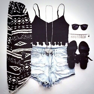 top lace tribal pattern lace top tribal cardigan black dress black crop top cardigan jewels sunglasses shorts