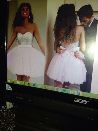 dress prom dress short prom dress pink grey silver bows