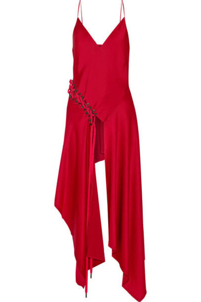 DKNY - Asymmetric Lace-up Satin-crepe Top - Red