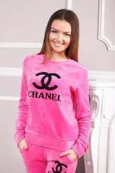 Chanel pink velour tracksuit black logo print