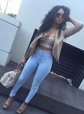 top,pants,jacket,jeans,high waisted jeans,light blue jeans,bustier,crop tops,fall outfits,outfit,summer outfits,outfit idea,baddies,black girls killin it,beige,bralette,corset top,cute,chic,streetwear,streetstyle,fashion,white,blouse