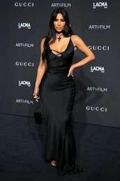 dress,kim kardashian,kardashians,black dress,black,gown,prom dress