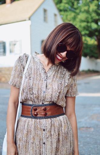 mysmallwardrobe blogger dress belt bag sunglasses shoes summer outfits shoulder bag