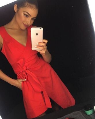 romper red olivia culpo instagram dress summer dress summer outfits red dress